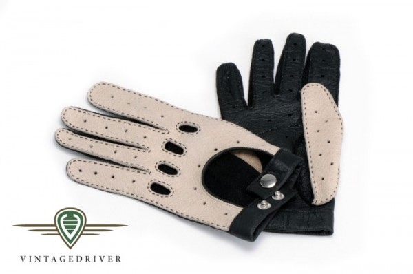Damenhandschuh aus Peccary Leder zweifarbig